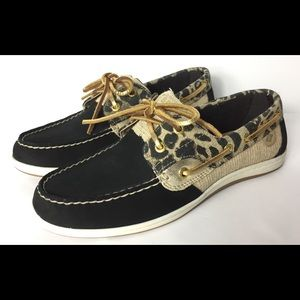 Sperry Top Sider leopard print lace up boat shoes